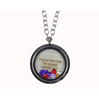 Pink Box 'You're The One I've Always Wished For' Stainless Steel Love Message Locket
