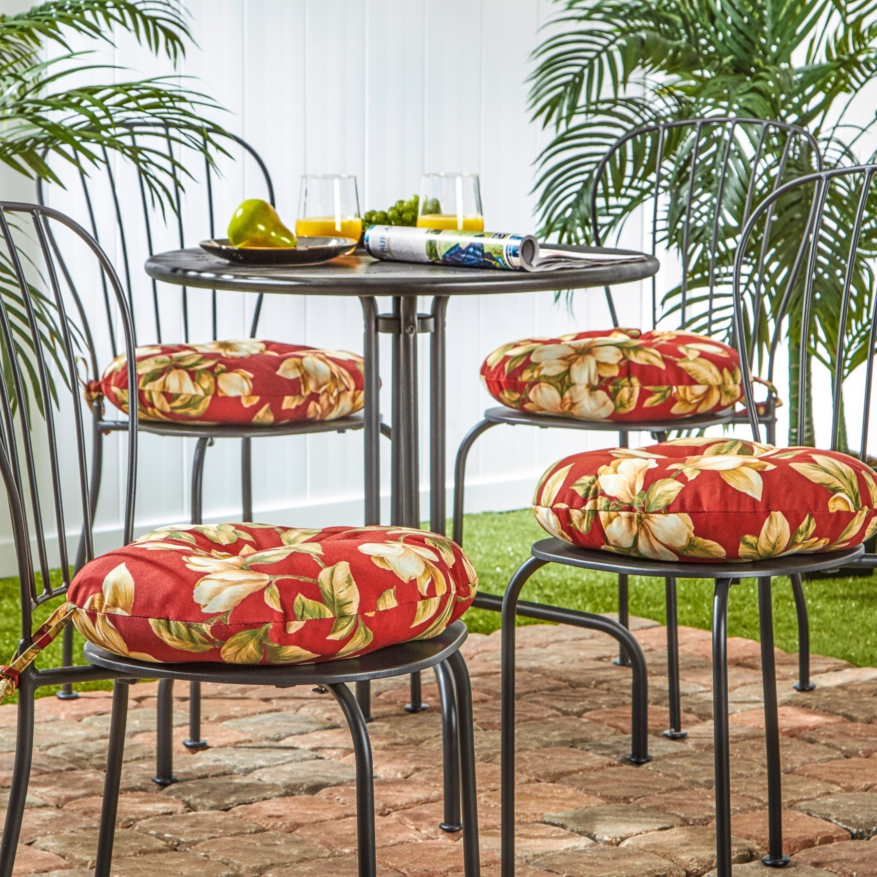 15 Inch Round Outdoor Roma Floral Bistro Chair Cushion (Set Of 4)