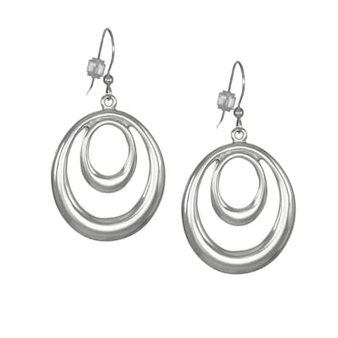 Handmade Jewelry by Dawn Bright Silver Double Oval Hoop Earrings (USA)