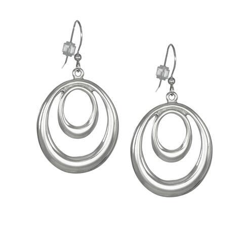 Handmade Jewelry by Dawn Bright Silver Double Oval Hoop Earrings (USA)
