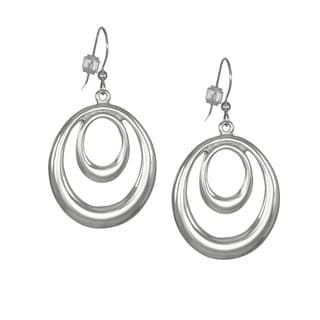 Jewelry by Dawn Bright Silver Double Oval Hoop Earrings