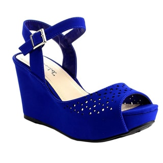 Beston BB43 Women's Ankle Strap Cut-out Platform Wedge