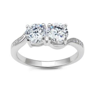 La Preciosa Sterling Silver White Topaz Two-Stone Engagement Ring