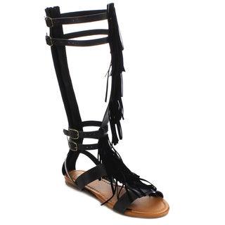 Beston FA53 Women's Fringe Gladiator Flat Sandal