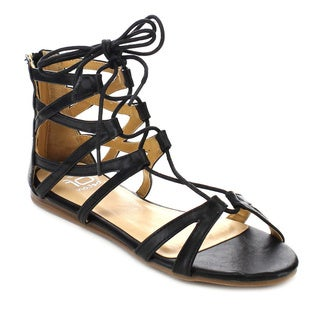 Beston FA55 Women's Lace-up Strapped Gladiator Flat Sandals
