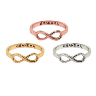Eternally Haute 14k Goldplated and Sterling Silver Grandma Sentiment Infinity Ring