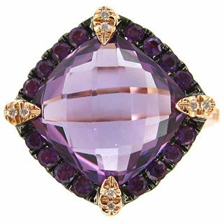 Kabella 14k Rose Gold Amethyst and Diamond Accent Ring (Size 6.75)