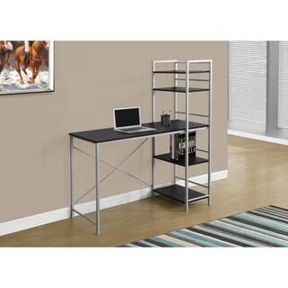 """Computer Desk-48""""L/Cappuccino Top/Silver Metal"""