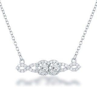 La Preciosa Sterling Silver Cubic Zirconia Two-Stone Necklace
