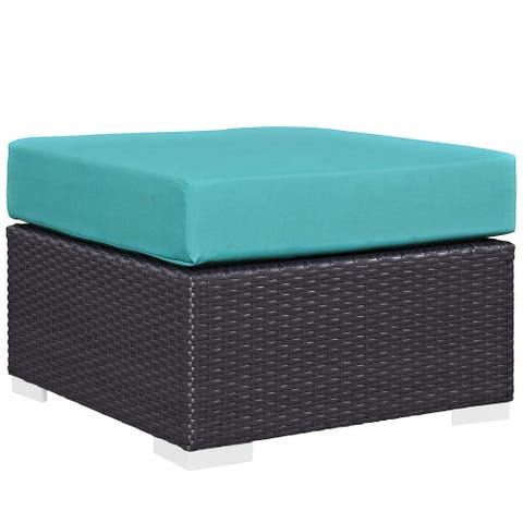 Sadie Upholstered Outdoor Patio Ottoman by Havenside Home