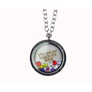 Pink Box 'You Are My Reason For Living' Stainless Steel Love Message Locket