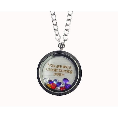 Pink Box 'You Are Like a Candle Burning Bright' Stainless Steel Love Message Locket