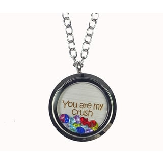 Pink Box 'You Are my Crush' Stainless Steel Love Message Locket