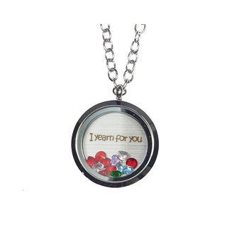 Pink Box 'I Yearn For You' Stainless Steel Love Message Locket