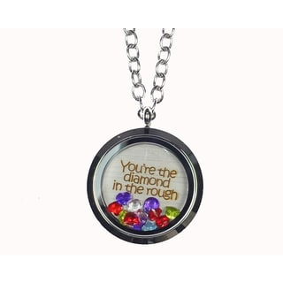 Pink Box 'You're The Diamond in The Rough' Stainless Steel Love Message Locket