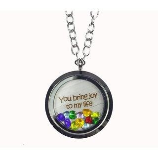 Pink Box 'You Bring Joy To My Life' Stainless Steel Love Message Locket