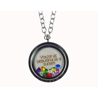 Pink Box 'You're As Beautiful As a Sunset' Stainless Steel Love Message Locket