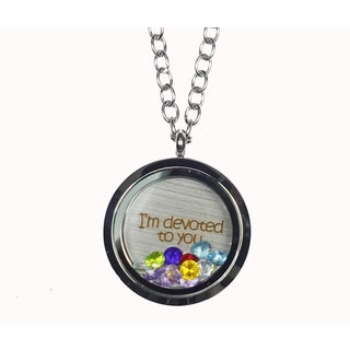 Pink Box 'I'm Devoted To You' Stainless Steel Love Message Locket