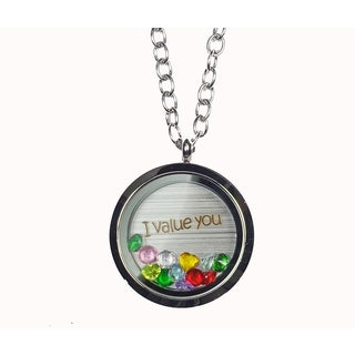 Pink Box 'I Value You' Stainless Steel Love Message Locket