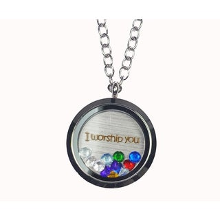 Pink Box 'I Worship You' Stainless Steel Love Message Locket