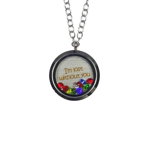 Pink Box 'I'm Lost without You' Stainless Steel Love Message Locket