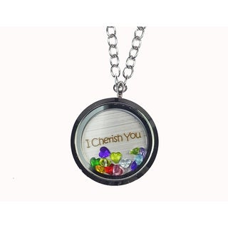 Pink Box 'I Cherish You' Stainless Steel Love Message Locket