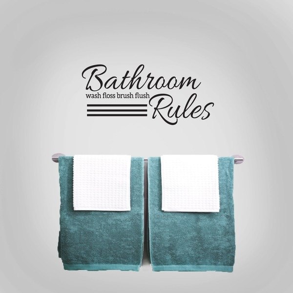 Bathroom Rules bathroom rules 24 x 11-inch wall decal - free shipping on orders