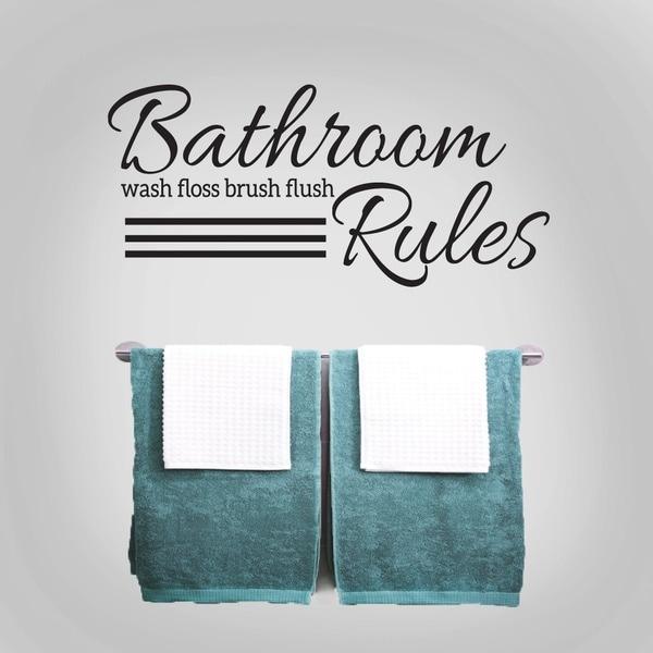 bathroom rules 36 x 165 inch wall decal