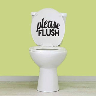 Please Flush' 6 x 5-inch Bathroom Wall Decal