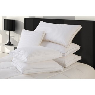 Fusion Ultra Cotton Medium Standard-sized White Down Pillows with Protectors (Set of 2)