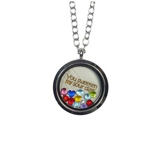 Pink Box 'You Sweeten My Sour Days' Stainless Steel Love Message Locket