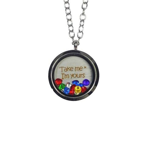 Pink Box 'Take Me * I'm Yours' Stainless Steel Love Message Locket
