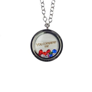 Pink Box 'You Complete Me' Stainless Steel Love Message Locket