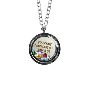 Pink Box 'You Bring Happiness To Rainy Days' Stainless Steel Love Message Locket