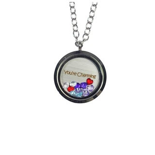 Pink Box 'You're Charming' Stainless Steel Love Message Locket