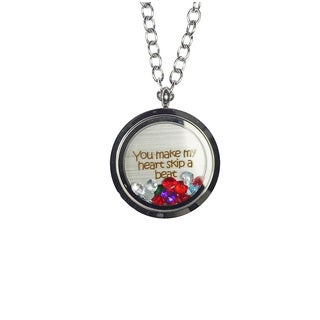 Pink Box 'You Make My Heart Skip a Beat' Stainless Steel Love Message Locket