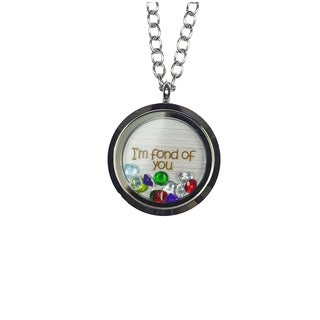 Pink Box 'I'm Fond of You' Stainless Steel Love Message Locket
