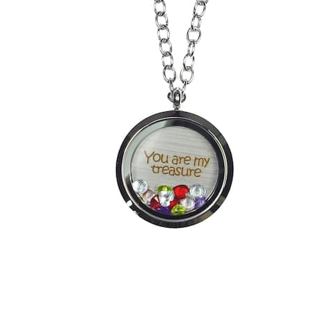 Pink Box 'You Are My Treasure' Stainless Steel Love Message Locket