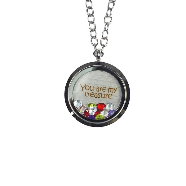 Pink Box 'You Are My Treasure' Stainless Steel Love Message Locket. Opens flyout.