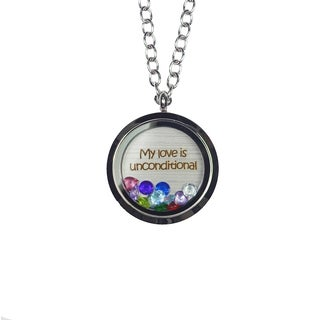 Pink Box 'My Love Is Unconditional' Stainless Steel Love Message Locket