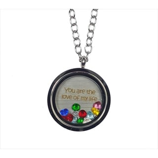 Pink Box 'You Are The Love of My Life' Stainless Steel Love Message Locket