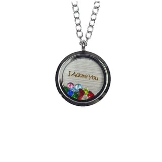 Pink Box 'I Adore You' Stainless Steel Love Message Locket