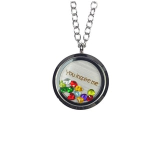 Pink Box 'You Inspire Me' Stainless Steel Love Message Locket