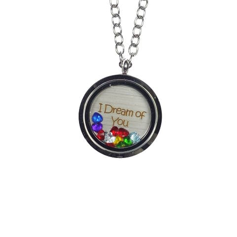 Pink Box 'I Dream of You' Stainless Steel Love Message Locket