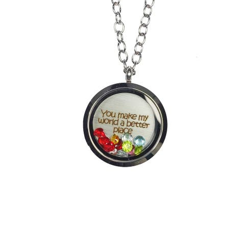 Pink Box 'You Make My World a Better Place' Stainless Steel Love Message Locket