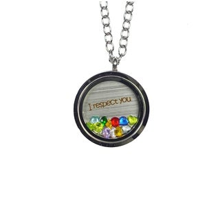 Pink Box 'I Respect You' Stainless Steel Love Message Locket