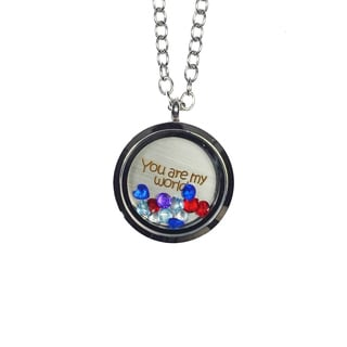 Pink Box 'You Are My World' Stainless Steel Love Message Locket