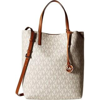 Michael Kors Hayley Vanilla/ Luggage Large Convertible Handbag Tote