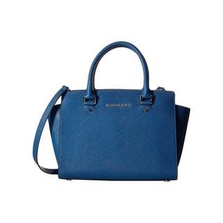 Michael Kors Selma Medium Steel Blue/Silver Top Zip Satchel Handbag
