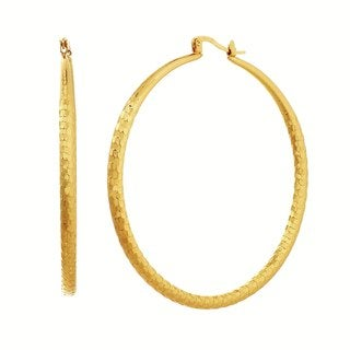 Alexa Starr Large Bridge Wire Textured Hoop Earrings